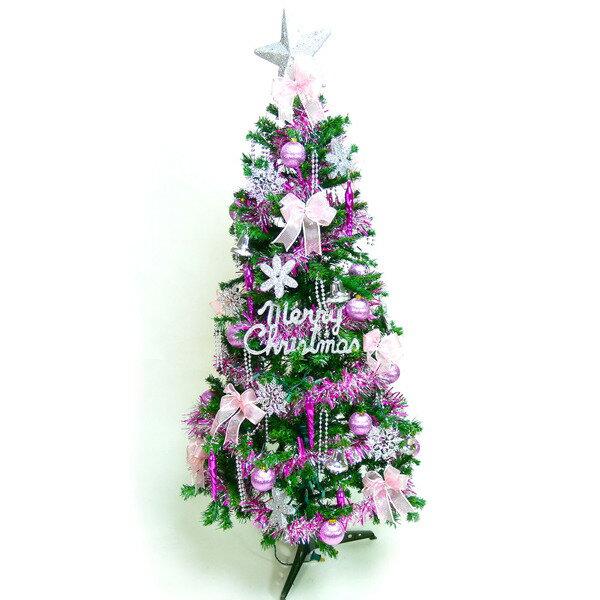 幸福6尺/6呎(180cm)一般型裝飾綠色聖誕樹 (+銀紅色系配件)(不含燈)