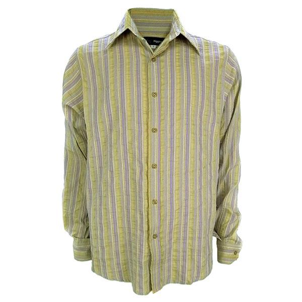 【摩達客】英國製設計品牌Higgins灰藍直紋微皺風休閒長袖襯衫