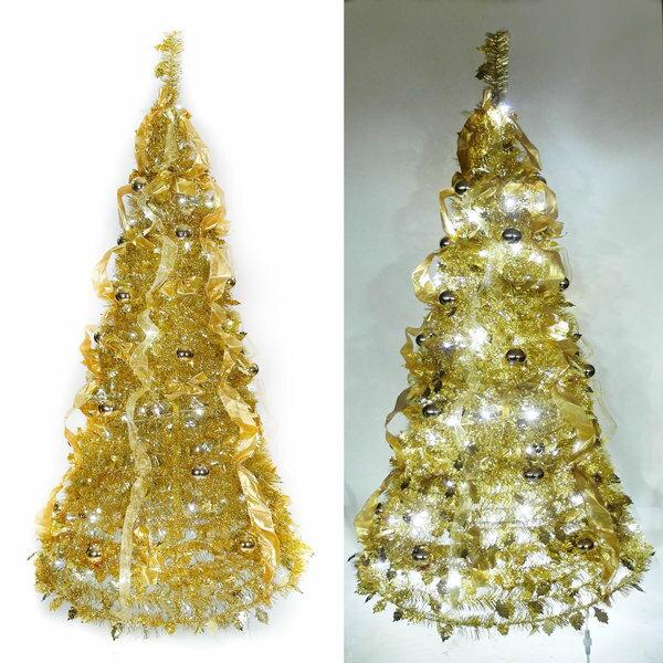 6尺  6呎 180cm  浪漫裝飾彈簧摺疊聖誕樹 雙金色系   一串LED100燈串 Y
