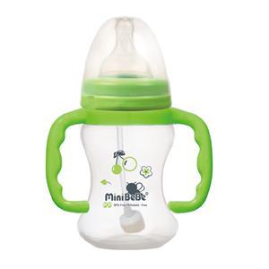 蜜妮寶貝嬰童用品館:【蜜妮寶貝嬰童用品館】OQO寬口自動把手奶瓶(容量:160ml5oz顏色:橘綠)型號:BB-09531