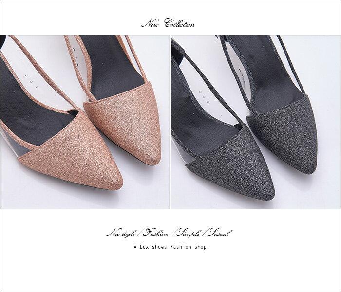 格子舖*【KF198-66】奢華金蔥拼接透明片宴會時尚 5CM金屬細中跟 尖頭包鞋 高跟鞋 2色 1