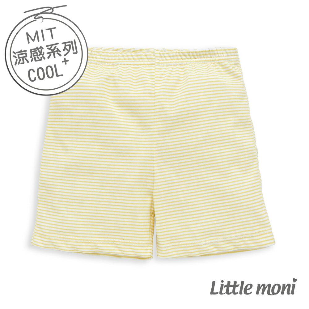 Little moni 涼感系列條紋兒童家居短褲-黃色