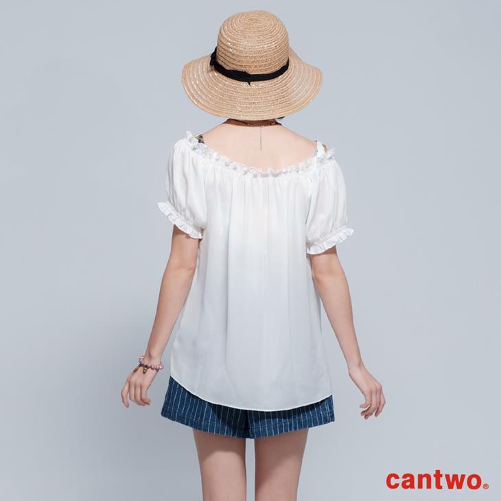 cantwo微透視印花兩件式雪紡上衣(共二色) 3
