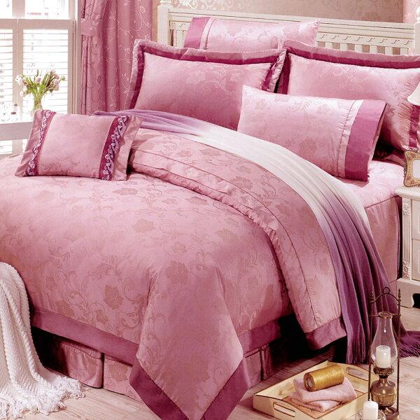 哇哇購:花嫁系列-精梳純棉緹花兩用被床罩組特大八件式-幸福花園哇哇購