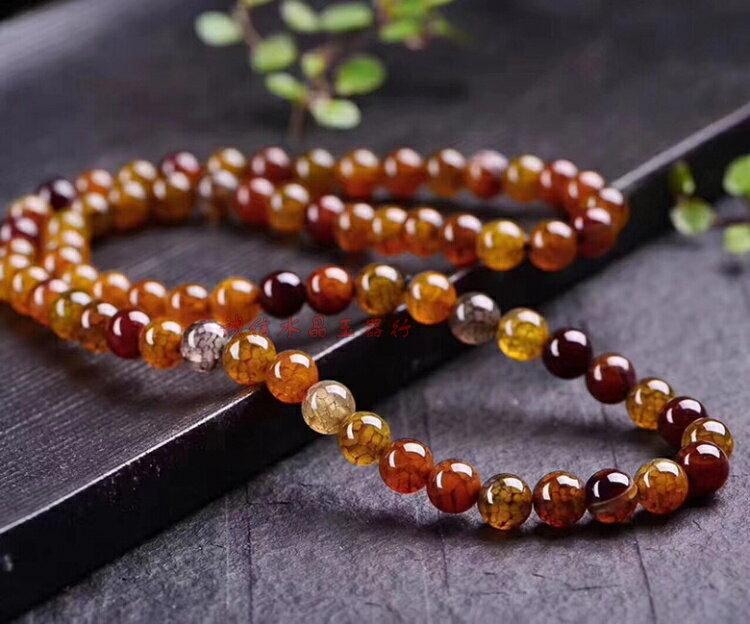 龍紋瑪瑙手鏈男女款創意佛珠飾品簡約天然轉運辟邪原石頭玉髓手串1入