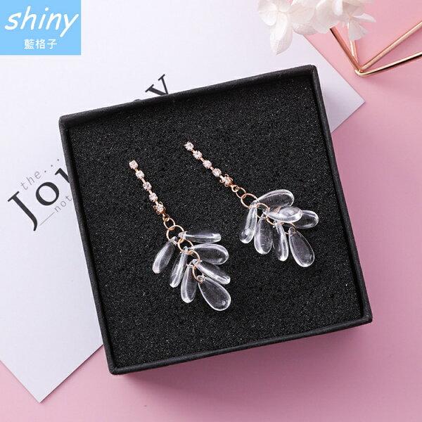 【DJA2520】shiny藍格子-透明水晶串珠水滴耳環