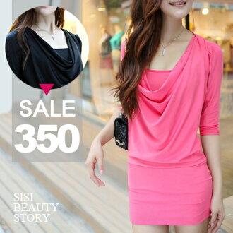 SISI【D6012】心機顯瘦假兩件感長袖垂墜線條修身包臀純色棉質連身裙洋裝