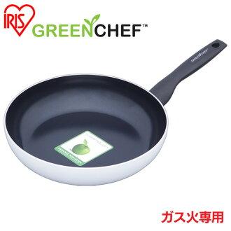 日本直送 免運/代購-日本IRIS OHYAMA/GREEN CHEF/鑽石塗層陶瓷鍋/瓦斯爐專用款/平底煎鍋/GC-SF-28G/28公分/527474