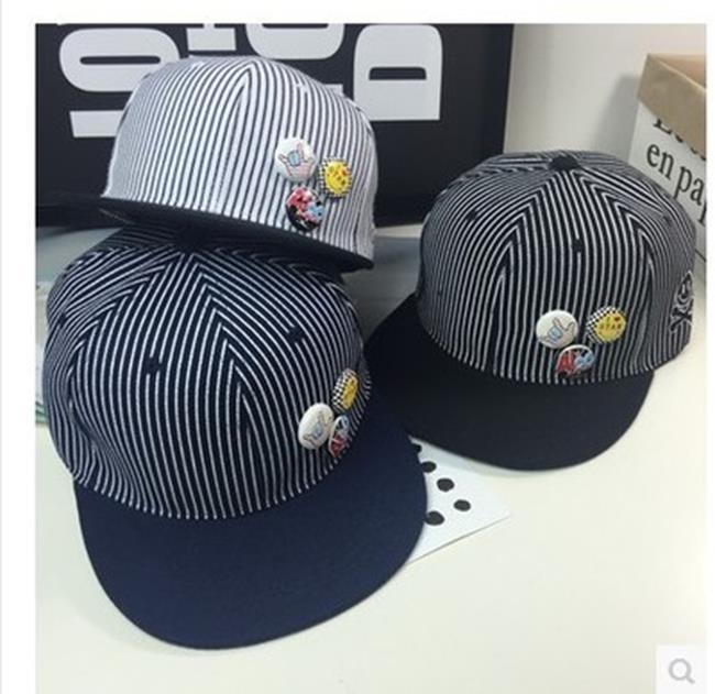 50%OFF【C019451H】韓版2016新款細條紋男女同款棒球帽卡通紐扣徽章笑臉骷髏嘻哈帽潮 - 限時優惠好康折扣