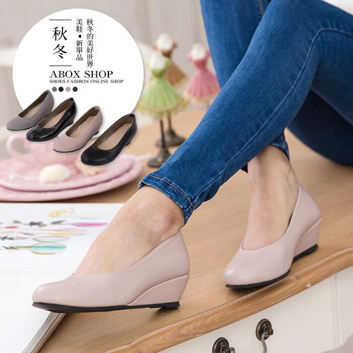 格子舖*【KP896】MIT台灣製 OL上班穿搭必備 素面高質感麂皮皮革 舒適增高4CM楔型鞋 厚底包鞋 4色 0