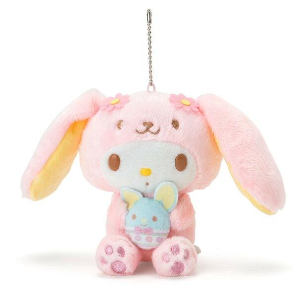 X射線【C377277】美樂蒂Melody造型玩偶吊鍊-長耳兔,絨毛填充玩偶玩具公仔鑰匙圈吊飾玩偶包包吊飾