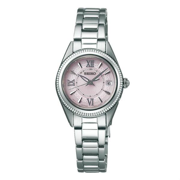 SeikoVivace1B22-0BZ0P(SWFH063J)時尚典雅太陽能電波腕錶粉面25mm