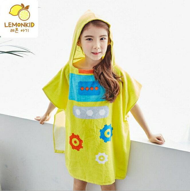 Lemonkid◆可愛機器人卡通造型圖案兒童浴巾浴袍-黃色