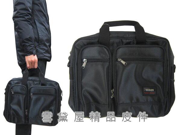 ~雪黛屋~YESON公事包小容量二層主袋可A4資料夾高單數防水尼龍布底部加大容量提肩背斜側台灣製造品質保證Y58306