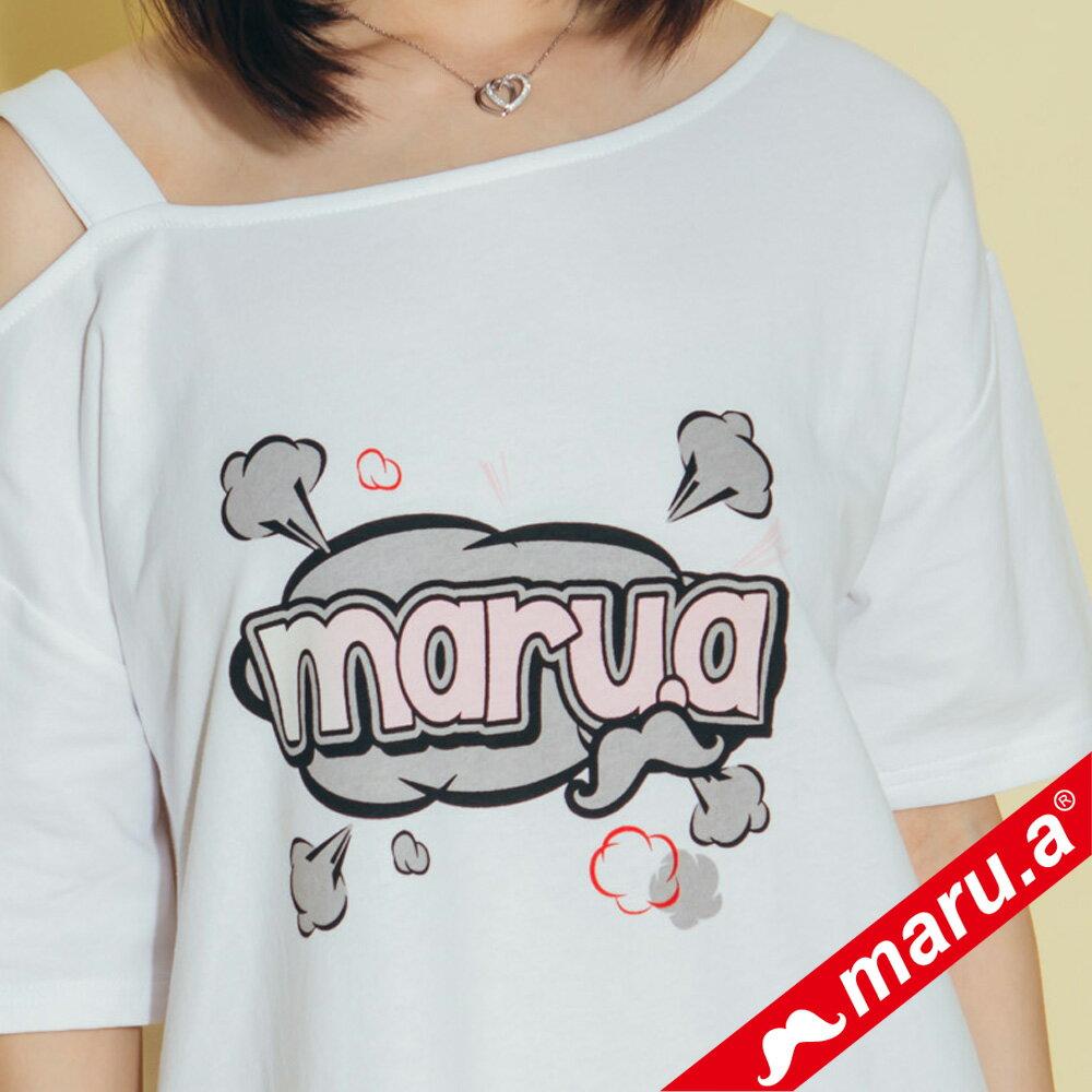 【maru.a】胸前maru.a印花背後織帶裝飾露肩洋裝 8317111 5