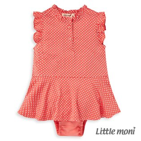 Littlemoni甜美荷葉袖包屁衣-淺珊瑚