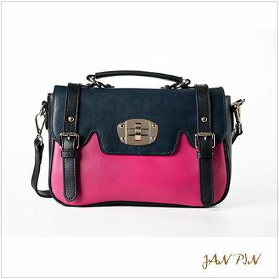 <br/><br/>  【JAN PIN】亮彩拼色學院風轉扣小書包(紫紅+黑)<br/><br/>
