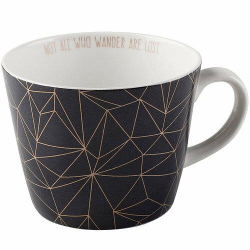 《CreativeTops》Earlstree燙金骨瓷馬克杯(幾何黑450ml)