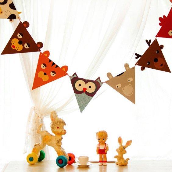 =優 =韓國可愛動物紙質三角旗裝扮掛飾吊飾 彩旗 三角旗幟 拉花生日派對 兒童房裝 野餐佈