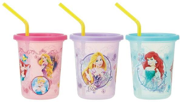X射線 精緻禮品:X射線【C379543】迪士尼公主系列日本製塑膠吸管杯3入320ml,水瓶隨身瓶直飲水壺學習杯漱口杯果汁杯日本製