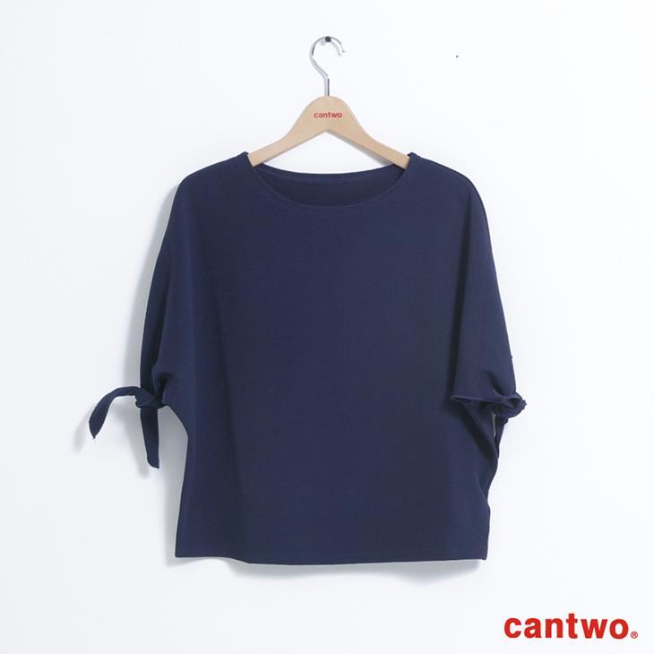 cantwo簡約綁結五分袖上衣(共二色) 6