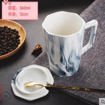 馬克杯馬克杯帶蓋勺北歐男創意辦公室咖啡杯情侶水杯家用女陶瓷杯子