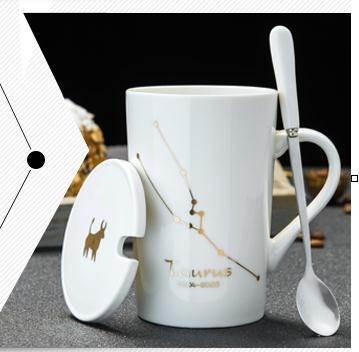 馬克杯創意星座杯子陶瓷馬克杯帶蓋勺辦公室大容量水杯家用咖啡杯