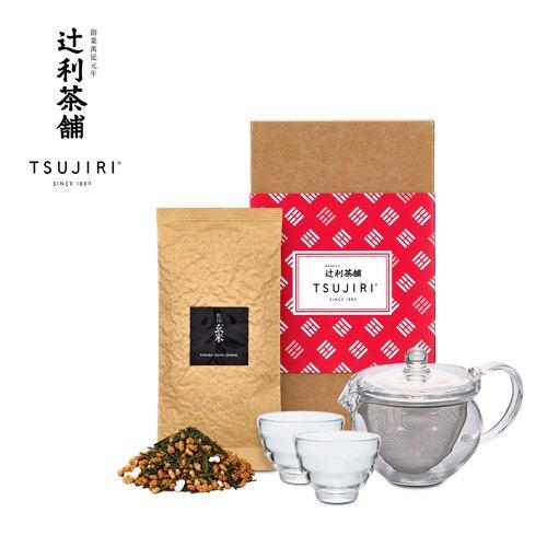 【辻利茶舗 x HARIO】辻光茶道具禮盒 (夕葫) 茶茶急須丸形茶壺30ml+耐熱湯吞小茶杯2入+小倉煎茶茶葉100g 1入。 0
