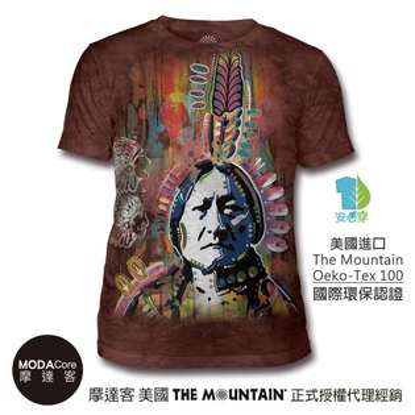 【摩達客】(預購)美國TheMountain都會系列彩繪印地安中性修身短袖T恤
