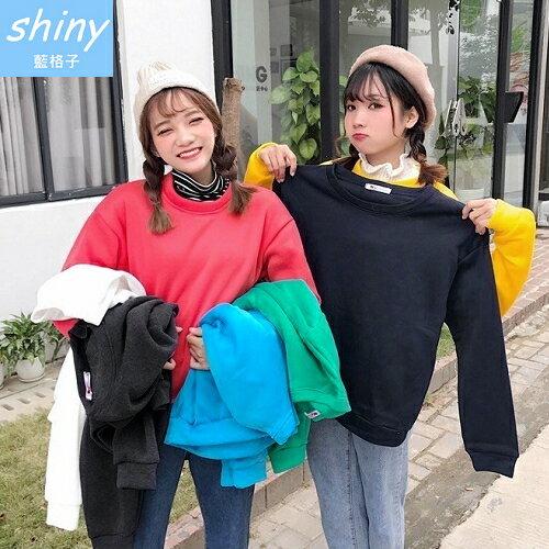 【V2217】shiny藍格子-糖果色系.百搭純色圓領刷毛長袖上衣