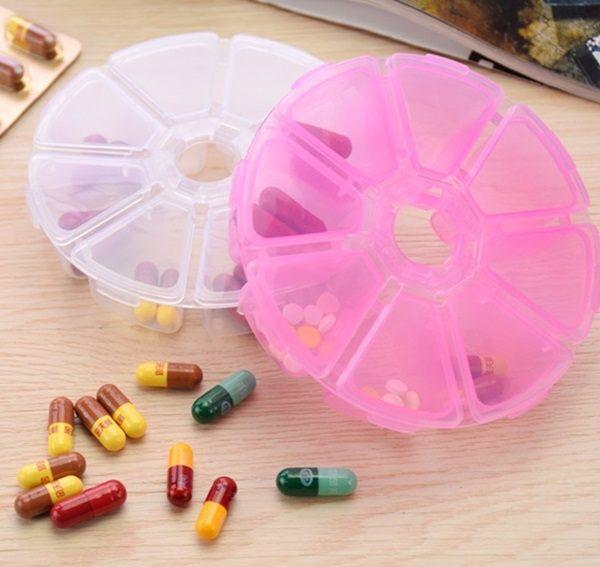 ♚MYCOLOR♚便攜式八格收納盒藥盒維他命飾品耳環項鍊透明串珠手作密封藥盒子【Q184】