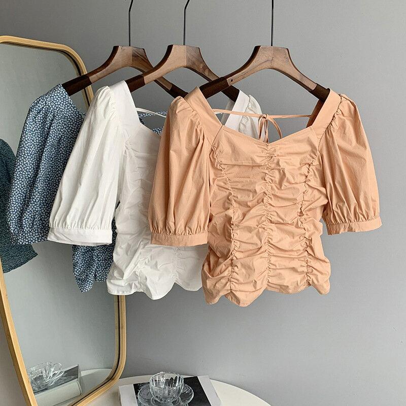 2021夏復古印花襯衫收腰泡泡袖綁帶碎花短袖雪紡上衣女
