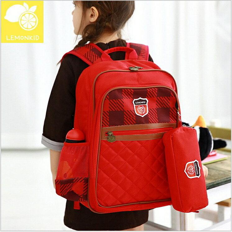 Lemonkid◆高級質感格紋學院風徽章學生書包+筆袋 2件組-紅色