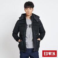 保暖推薦男羽絨外套推薦到EDWIN 異材質拼接多袋 羽絨外套-男款 黑色就在EDWIN推薦保暖推薦男羽絨外套