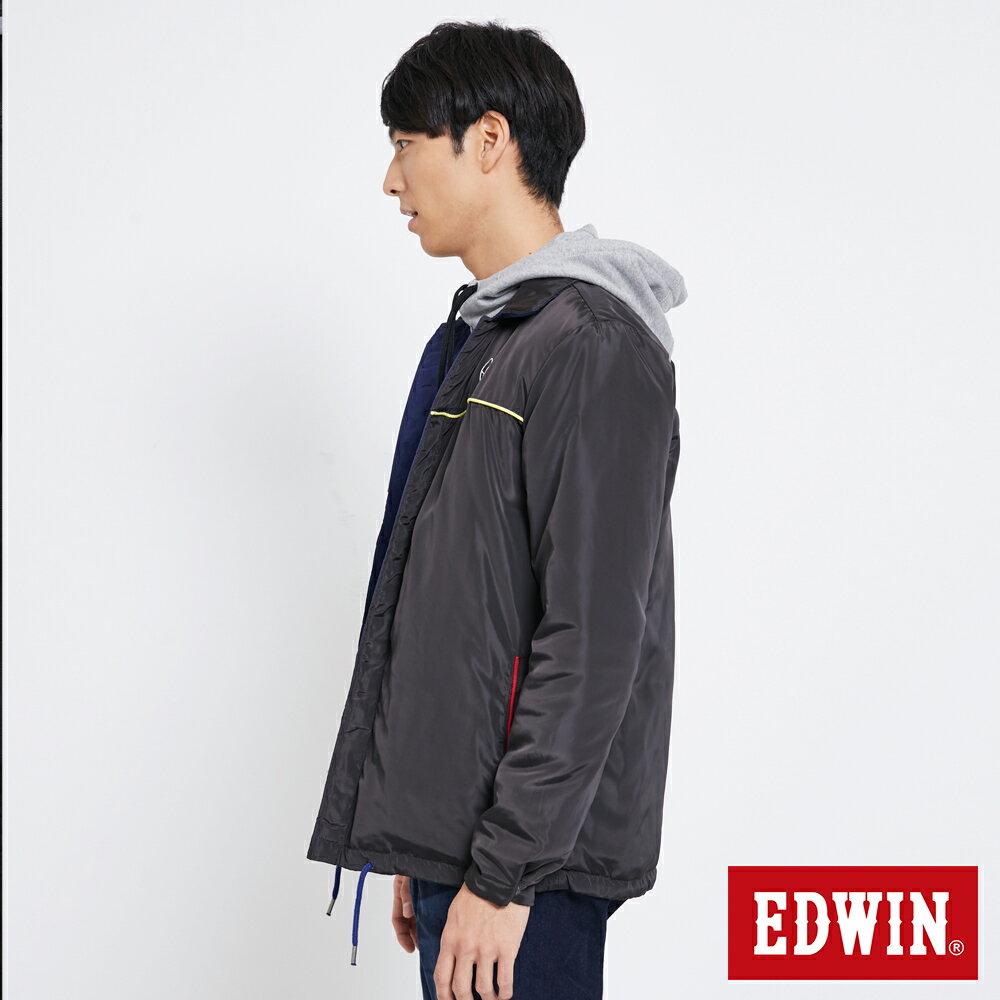 EDWIN 雙面穿極簡線條 鋪棉外套-男款 黑灰色【雙12 SUPER SALE 限定折扣】【天天消費滿1200→12 / 9憑券序號12S120H再折120元】 2