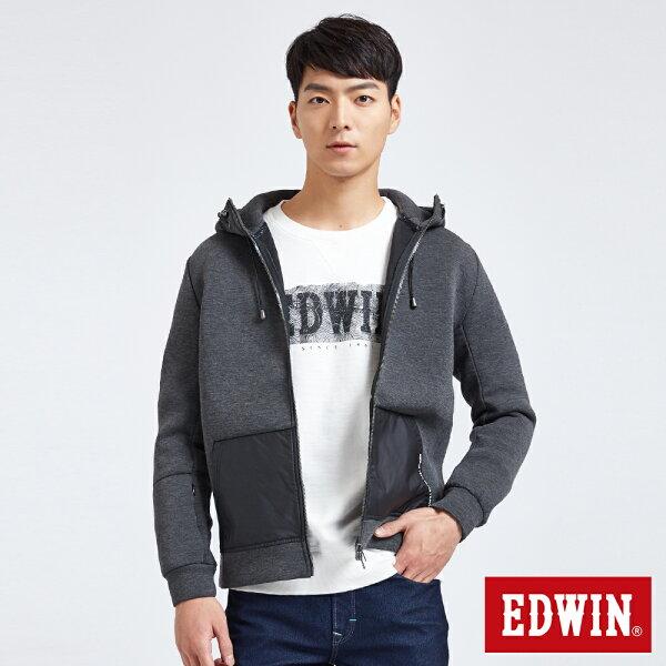 【新品上市↘】EDWIN異材剪接太空棉連帽外套-男款黑灰色SPACERACE太空競賽