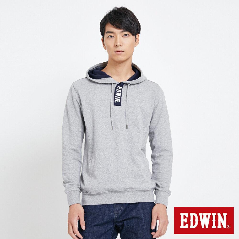 EDWIN 配色LOGO 半開襟連帽T恤-男款 麻灰 0