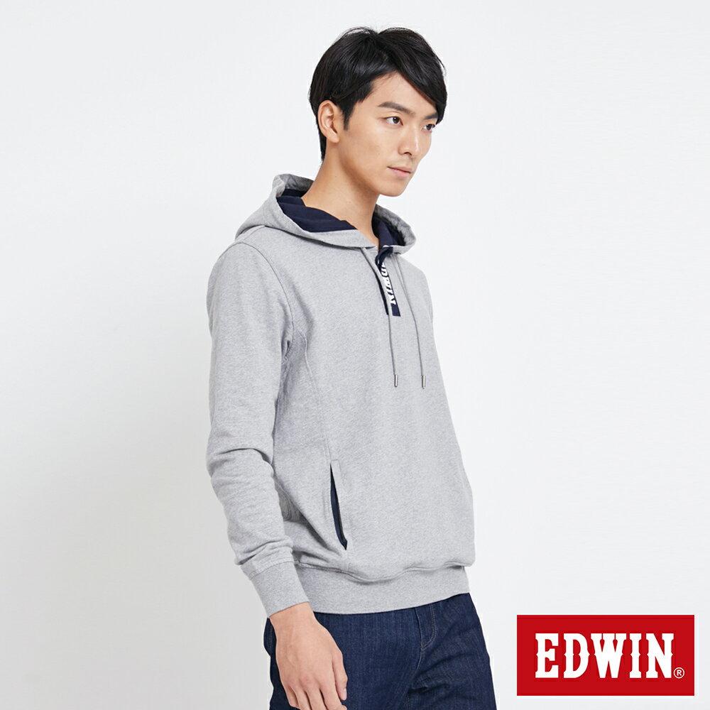 EDWIN 配色LOGO 半開襟連帽T恤-男款 麻灰 3