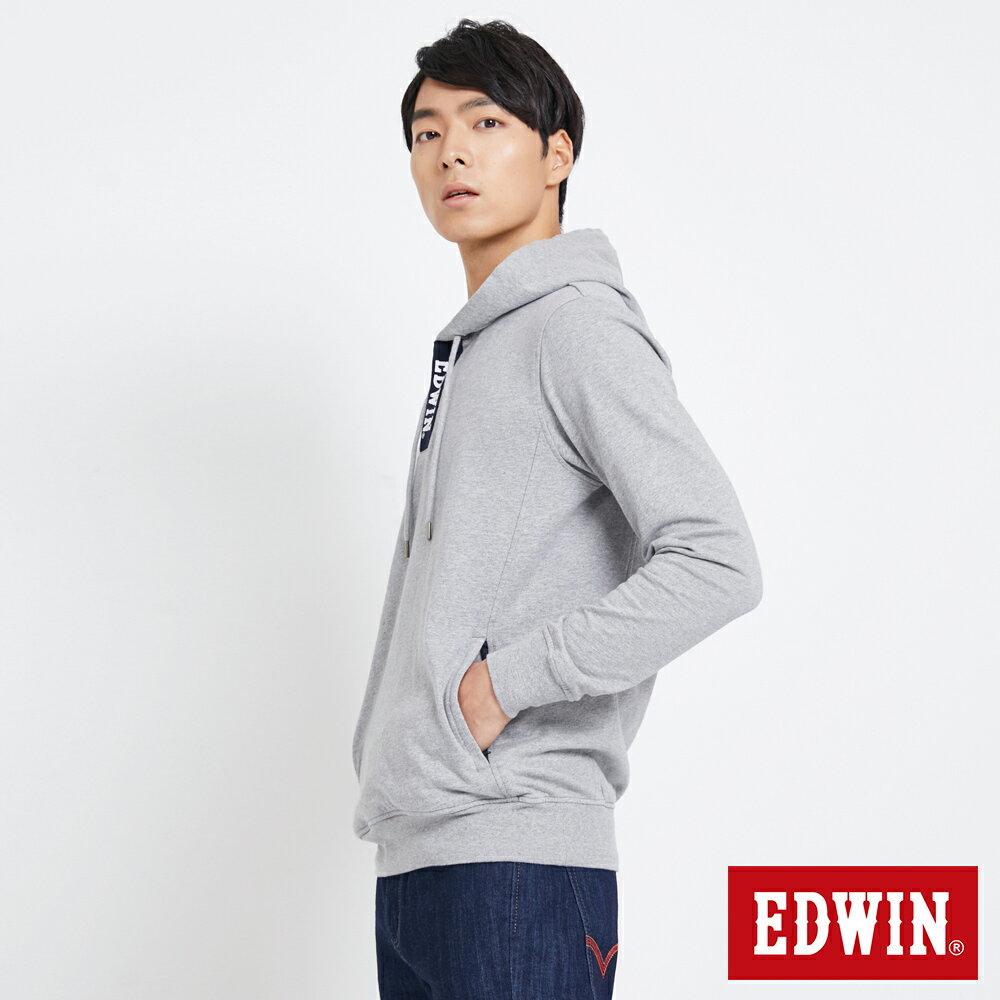 EDWIN 配色LOGO 半開襟連帽T恤-男款 麻灰 4