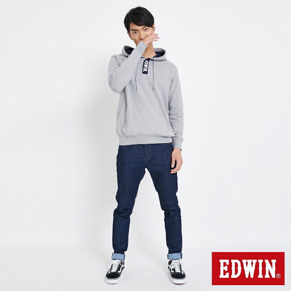 EDWIN 配色LOGO 半開襟連帽T恤-男款 麻灰 5