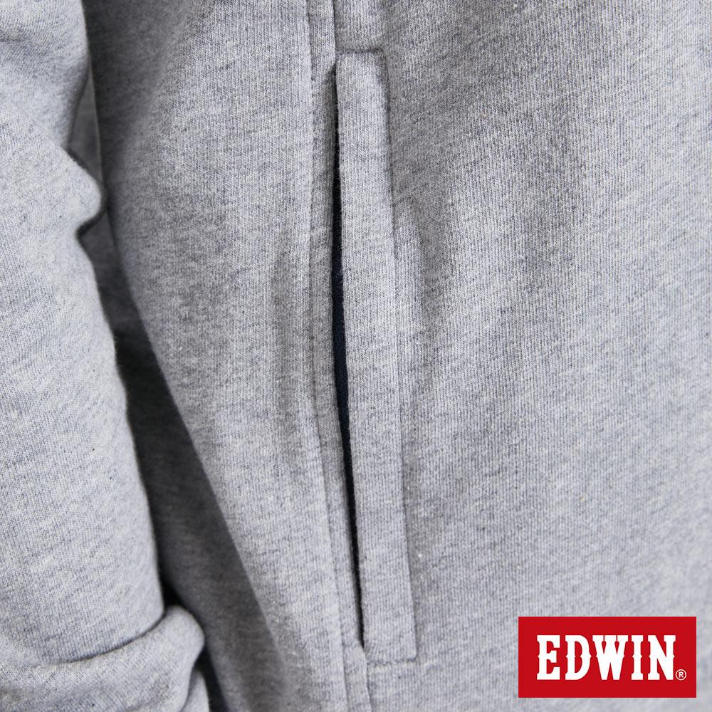 EDWIN 配色LOGO 半開襟連帽T恤-男款 麻灰 7