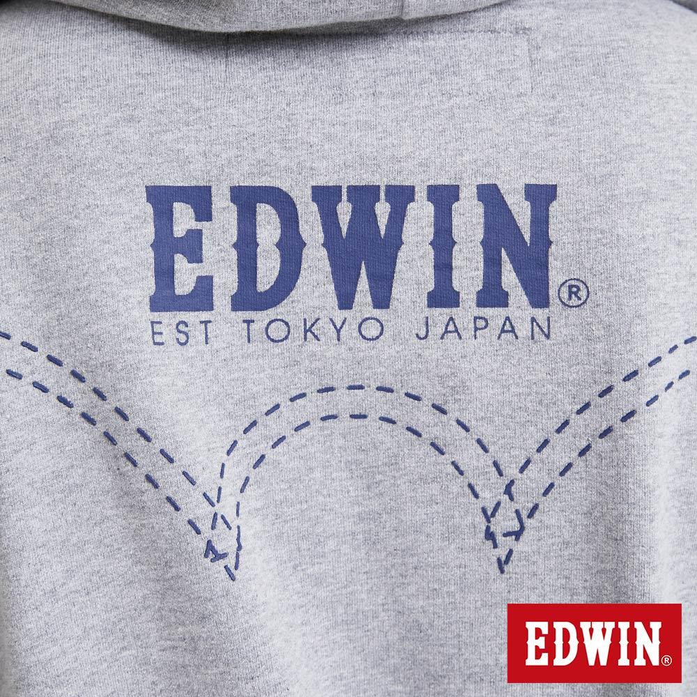 EDWIN 配色LOGO 半開襟連帽T恤-男款 麻灰 8