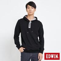 EDWIN 配色LOGO 半開襟連帽T恤-男款 黑色-EDWIN-潮流男裝