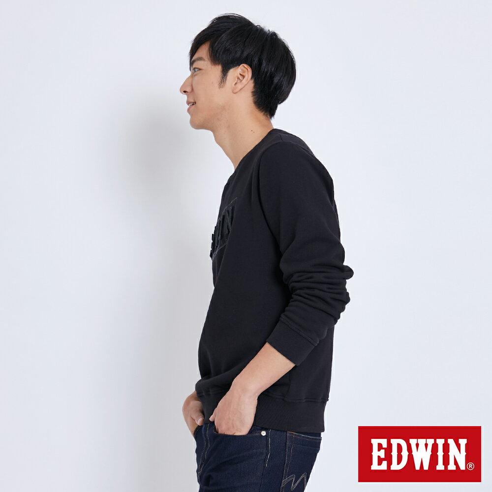 EDWIN 立體模型LOGO 厚棉長袖T恤 (立體LOGO可拆) -男款 黑色 衛衣 大學T 2
