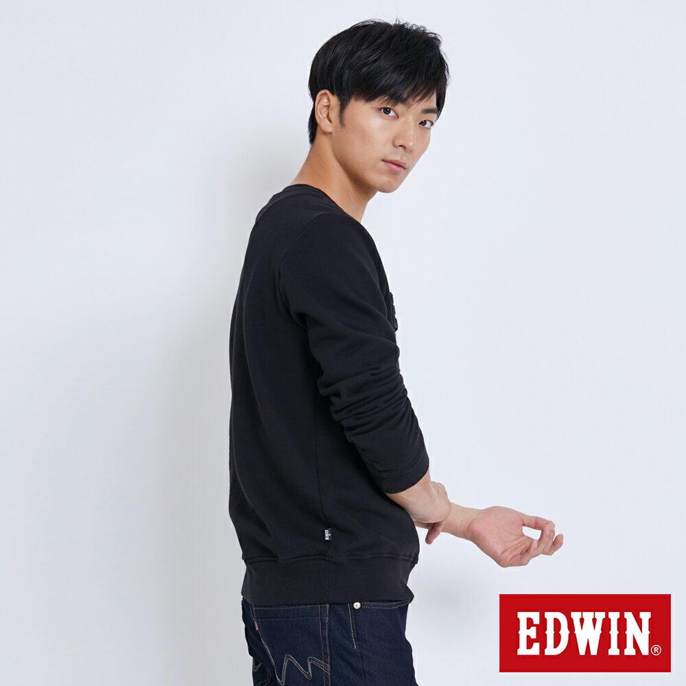 EDWIN 立體模型LOGO 厚棉長袖T恤 (立體LOGO可拆) -男款 黑色 衛衣 大學T 3