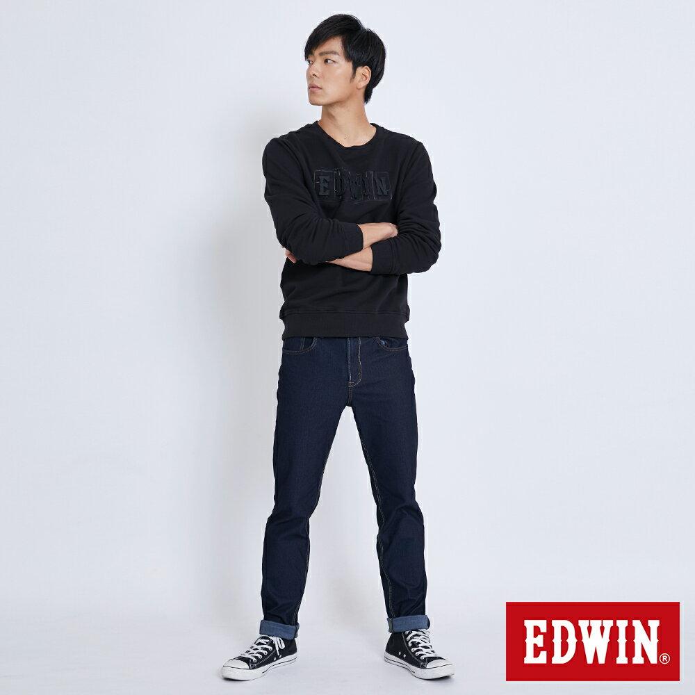 EDWIN 立體模型LOGO 厚棉長袖T恤 (立體LOGO可拆) -男款 黑色 衛衣 大學T 4
