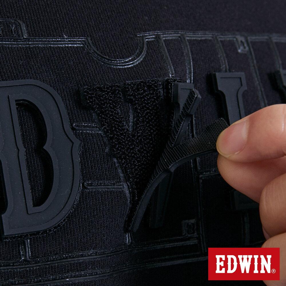 EDWIN 立體模型LOGO 厚棉長袖T恤 (立體LOGO可拆) -男款 黑色 衛衣 大學T 6