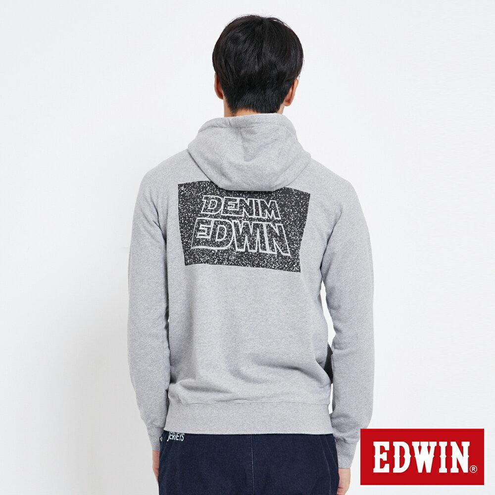 EDWIN 太空LOGO 連帽長袖T恤-男款 麻灰色 SPACE RACE太空競賽 1