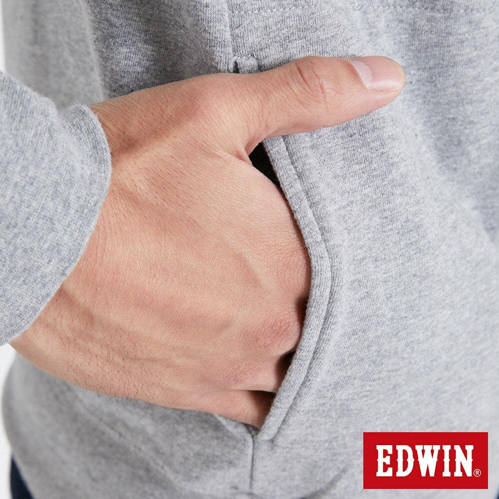 EDWIN 太空LOGO 連帽長袖T恤-男款 麻灰色 SPACE RACE太空競賽 7
