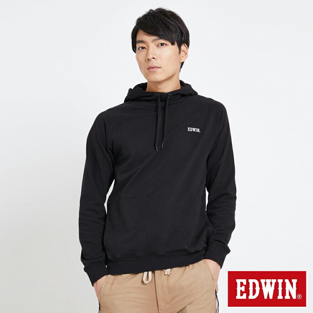 EDWIN 太空LOGO 連帽長袖T恤-男款 黑色 SPACE RACE太空競賽 0